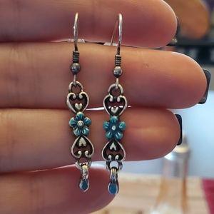 Brighton blue floral dangle earrings